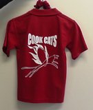 back of red cook cats polo shirt