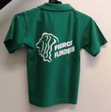 back of green force flinders polo shirt