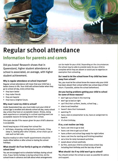 information sheet about regular school attendance